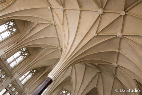 Castello di Malbork: dettaglio architettonico della volta di un soffitto di una sala.