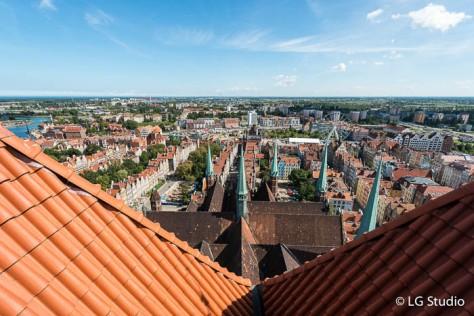 Vista della città di Danzica, dalla torre della Chiesa di Santa Maria.a